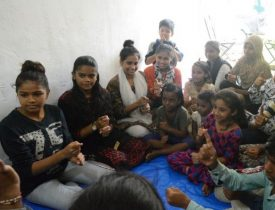 Group of children at a sign language workshop by Pahal Foundation