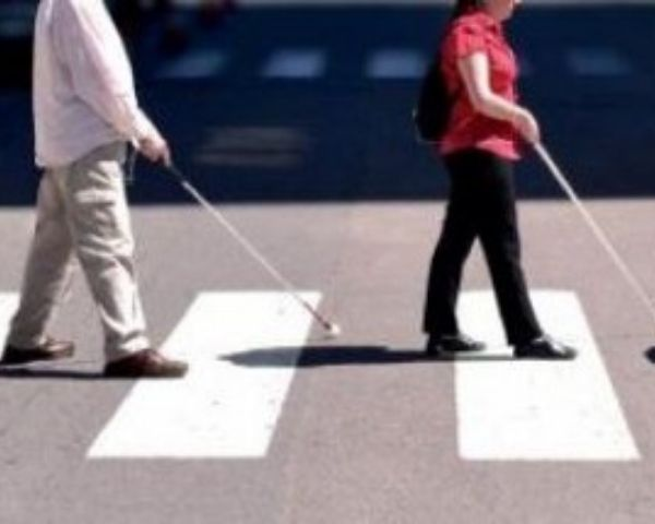 Two people walking on a zebra crossing holding white canes