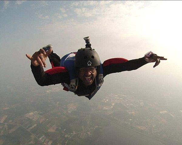 person with disability sky diving.
