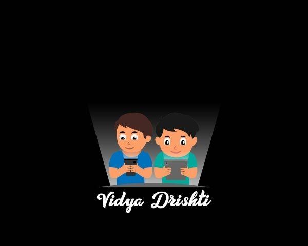 Logo of Vidya Drishti showing 2 kids reading a book with the words Vidya Drishti below