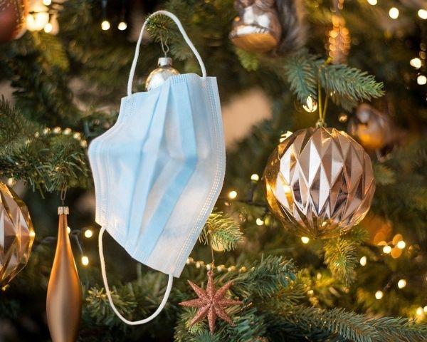 face mask on christmas tree