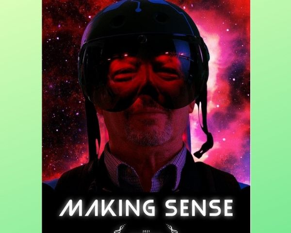 Poster of the film Making Sense shows a man with face mask partially covering his face