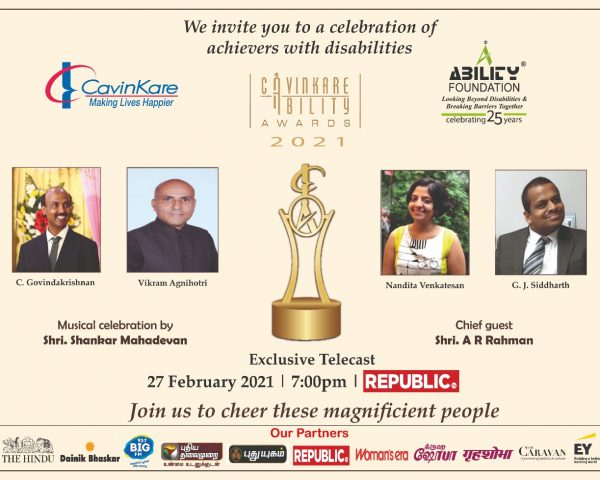 Invite to the telecast & webstreaming of the 2021 CavinKare Ability Awards at 7pm today.