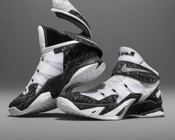 Black and white photo of a pair of GO FlyEase sneakers