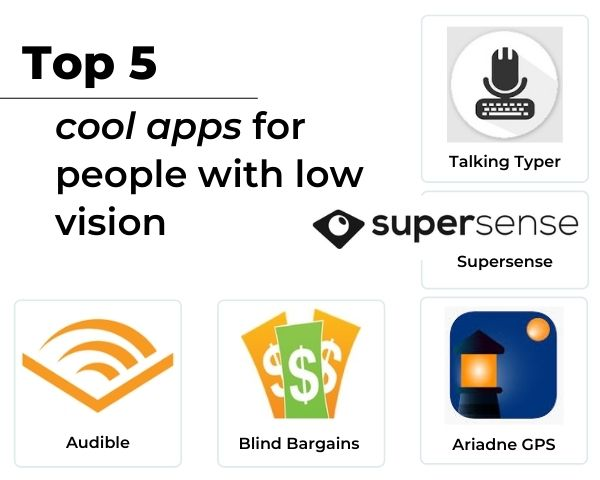 Images of the 5 apps with the line Top 5 cool apps for people with low vision