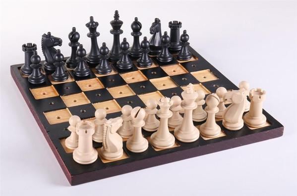 A complete chess set.
