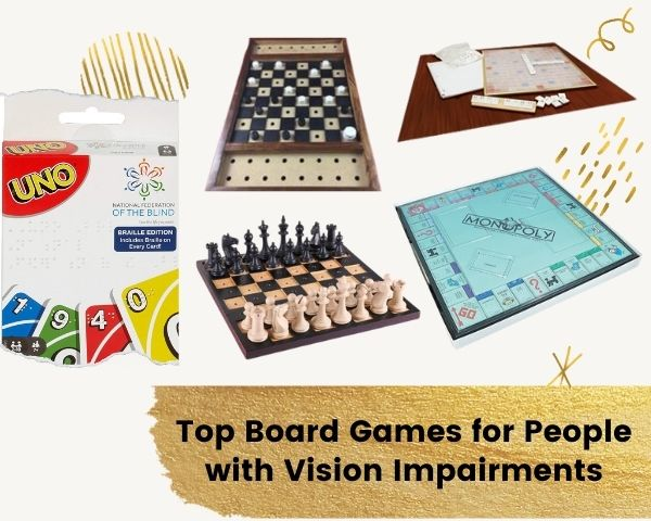 Images of the featured games with the line Top board games for people with vision impairments