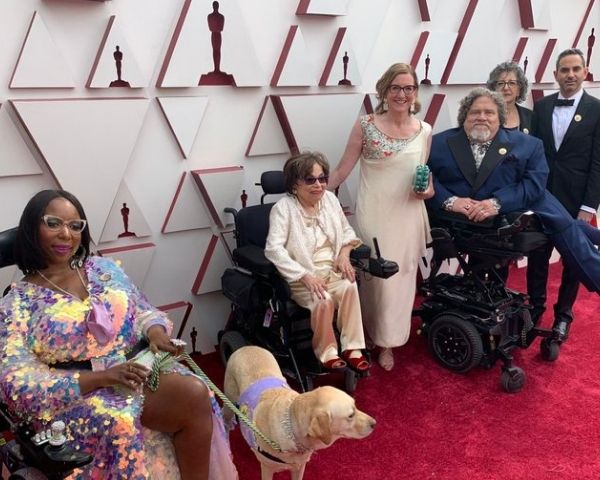 Members of the Crip Camp team on the Oscars Red Carpet