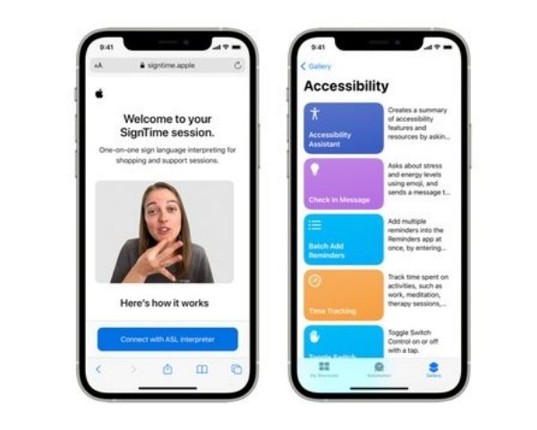 Image featuring SignTime app and other accessibility features on an Apple phone