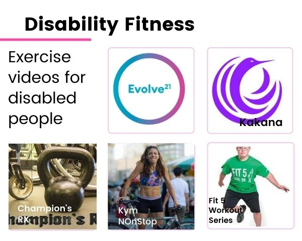Logos of the disability fitness videos featured