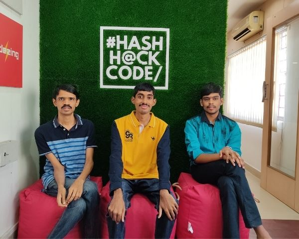 Images of Prem, Pranav and Saravana - the 3 youth working on the website