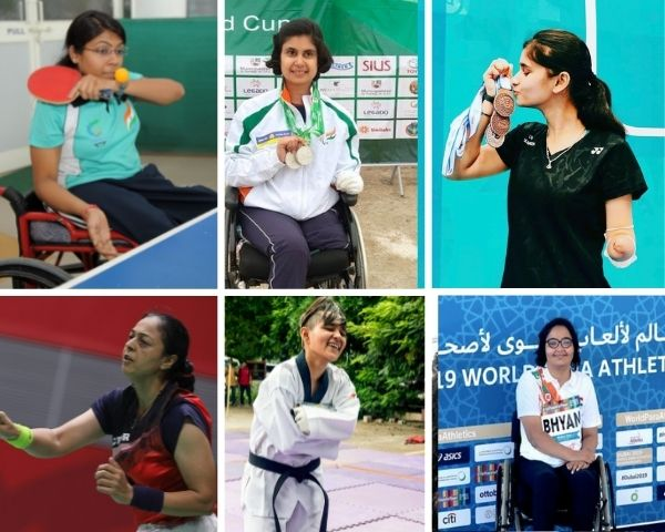 Images of the 6 disabled women athletes featured in article