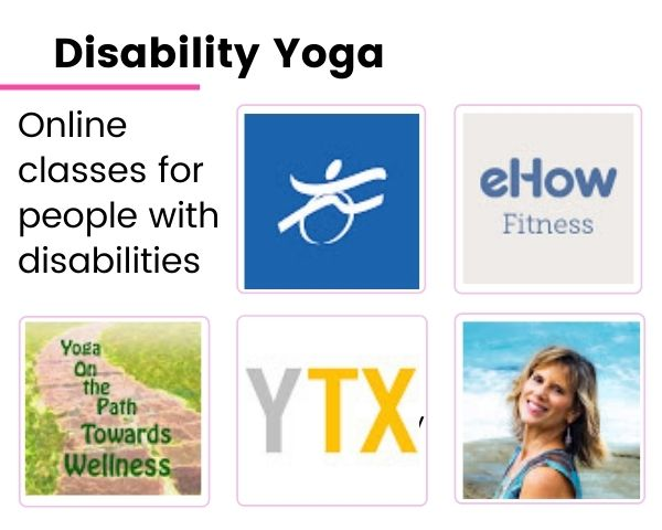 Logos of the five YouTube channels on disabled yoga
