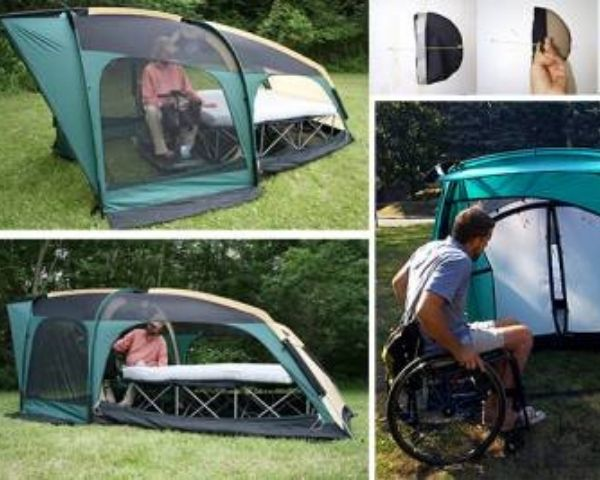 Images of the accessible tent designed by BlueSky Designs