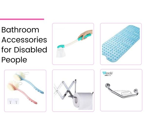 Images of the 5 bathroom accessories for disabled people