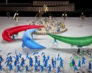 Opening ceremony of the Tokyo Paralympics 2021 the IPC symbol being made.
