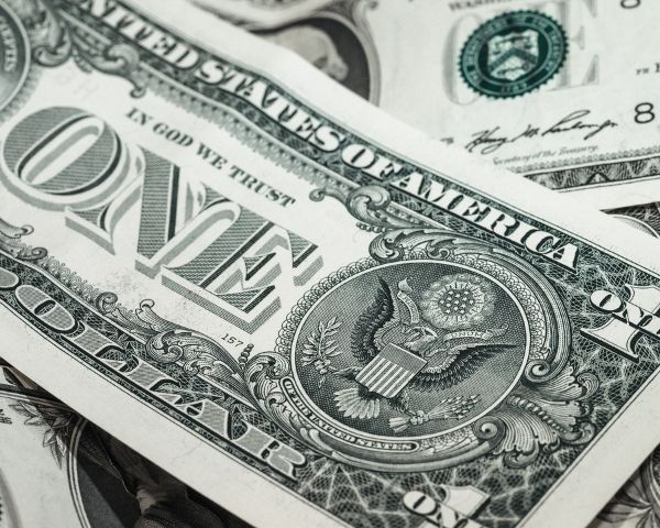 Image of a one dollar note in grey and white